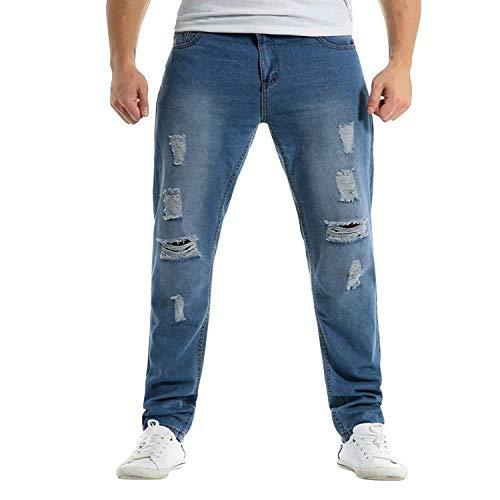 Pantalones Pantalones Fit Hellblau Pantalones Desgastados Desgaste Destruidos Slim Largo Vaqueros Hombres Vaqueros Largos Desgaste Pantalones Pantalones Rasgados Vaqueros para Desgastados Hombres para 74Tqr7