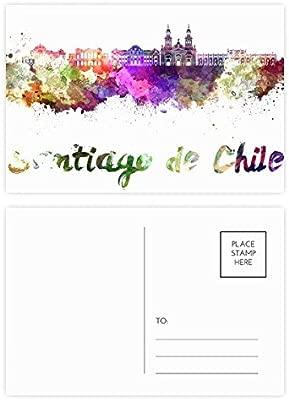 DIYthinker Gracias Santiago de Chile Ciudad acuarela postal ...