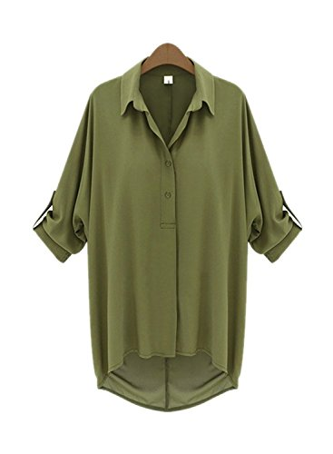 ARJOSA Womens Chiffon Batwing Button Down