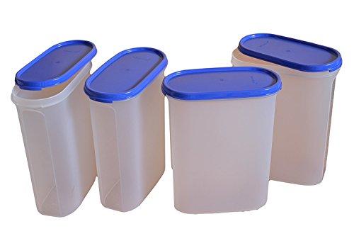 - Tupperware Modular Mates Oval Plastic Container 4 Set, 2.3 Litres, 4-Pieces, Multicolor