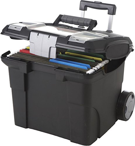 Black Portable Letter-Sized File Box On Wheels - Dimensions: 16W x 15D x 14.25H Weight: 7 Lbs, Polypropylene Construction Combined w/Wheels & Long Handle (Plastic Storage Containers With Wheels And Handle)