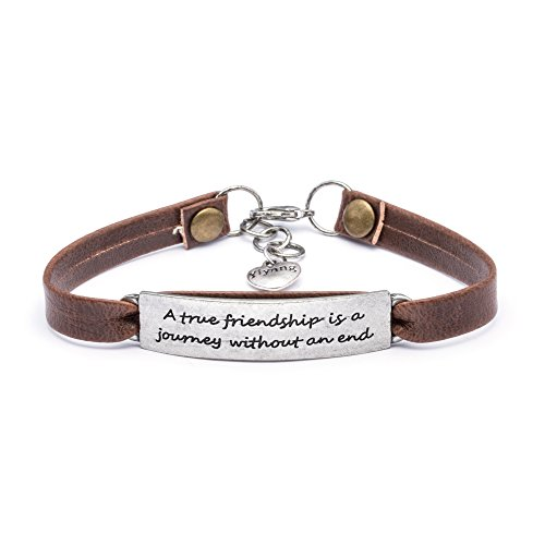 Yiyang Motivation Friendship Vintage Antique Leather Bracelet Brown Leather Inspirational Jewelry Gift for Friend A True Friendship is A Journey with An End ()