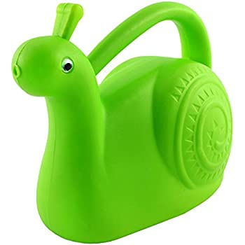 Garden-Friendly Green Snail Plastic Watering Can with Googly Eyes, Fully-Functional Novelty Watering Can Blends Right in with the Plants