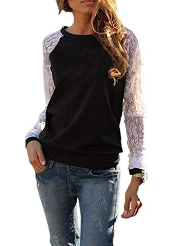 Casual Shirts Printemps ulein Pullover Hauts Automne T pissure Femmes Fox Longues Noir Sweat Dentelle et Jumpers Fr Fashion Manches Shirts Blouse Col Tops Rond EqZd1xaw1