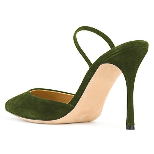 Kompani Kvinnor Elegant Spetsig Tå Pumpar Höga Klackar Sandaler Stilett Mulor Halka På Skor Storleks 4-15 Oss Olivgrön