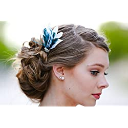 White Teal Peacock Hair Fascinator Feather Wedding Bridal Bridesmaid Clip