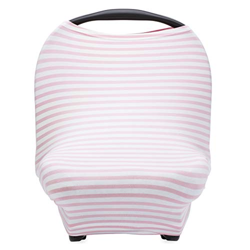 Parker Baby 4 in 1 Car Seat Cover for Girls - Stretchy Carseat Canopy, Nursing Cover, Grocery Cart Cover, Infinity Scarf - Pink/White Stripes (Car Seat Infant Cover Stripes)