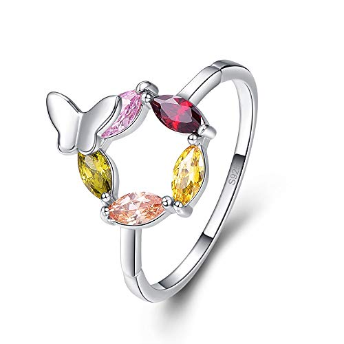 Momius 925 Sterling Silver Created Multi-Gemstones Filled Marquise Cut Dainty Band Butterfly Ring for Women (Color : Multi-Color, Size : 8) ()