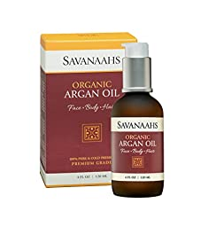 Savanaahs Organic Argan Oil 4 Oz / 120 ML 100% Pure & Cold Pressed - Premium Grade - USDA Certified Organic - Large 4 Oz Glass Bottle - Excellent Natural Multi-Purpose Moisturizer for Skin, Hair & Nails - Non-Greasy and Fast Absorbing - Good Source of Vit