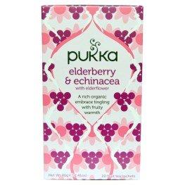 40 Sachets (Pukka Herbs, Elderberry & Echinacea, 20 Fruit Tea Sachets, 1.41 oz (40 g) Each(pack of 2))