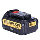 Biswaye 5.0Ah 18V XR Lithium-ion Replacement Battery for DeWalt DCB184 DCB184B-XJ DCB183 DCB183-XJ DCB182 DCB182-XJ DCB181 DCB181-XJ DCB185-XE Power Tool Battery with LED Indicator Light
