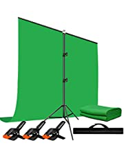 Heysliy Green Screen Backdrop Kit with Stand 5*6.5 FT Portable Green Screen Stand with Small Green Screens Cloth for Zoom Video Gaming Youtubers Photography Streaming Meetings