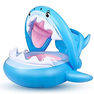 Baby Float Swimming Pool Toddler Floaties with Inflatable Canopy Shark Infant Pool Float for Kids Aged 6-36 Months