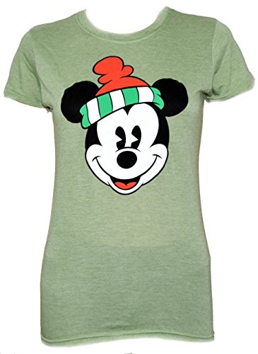 Disney Classic Christmas Mickey Mouse Face T-shirt (XXL , Green) (T-shirt Faces Classic Soft)