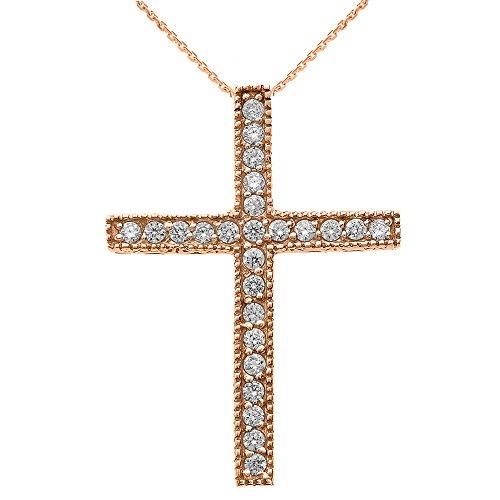 Collier Femme Pendentif 14 Ct Or Rose Milgrain Bordé Diamant Croix (Livré avec une 45cm Chaîne)