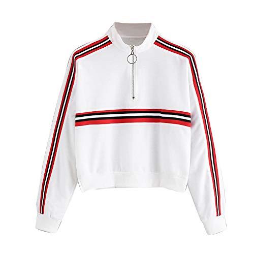CUCUHAM Fashion Casual Womens Long Sleeve Sweatshirt Jumper Pullover Strapless Blouse(White,US:14/CN:2XL) -