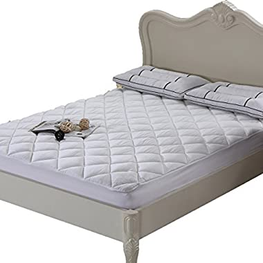 Silky Soft Bamboo Fitted Topper, Queen Mattress Pad by Royal Hotel