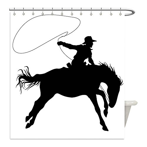 Liguo88 Custom Waterproof Bathroom Shower Curtain Polyester Cartoon Decor Collection Silhouette of Cowboy Riding Horse Rider Rope Sport Country Western Style Art Black and White Decorative bathroom - Matching Horse And Rider Costumes
