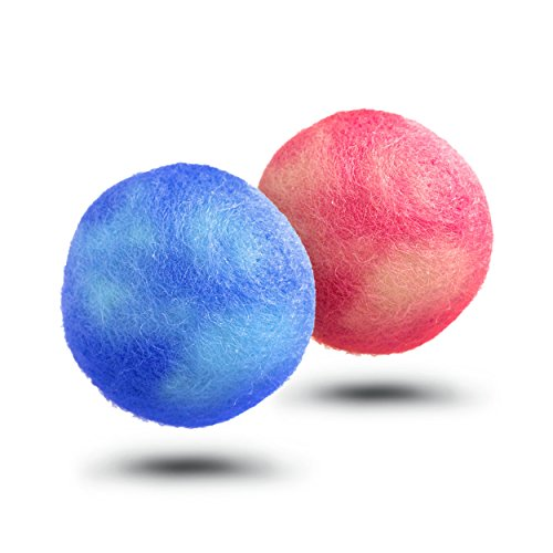 Dog Chew Toy Balls (Pair) Handmade 100% Felted Wool  Natural Dyes, For Small Dogs  Puppies, Machine Washable