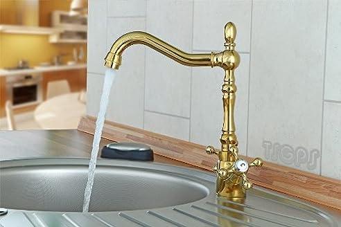 Goldene Nostalgie Retro Küchen Armatur Wasserhahn im Landhausstil ...
