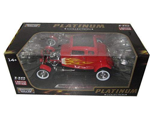 Red Hot Rod - 1932 Ford Hot Rod Red with Flames Limited Edition and Platinum Collection1/18 by Motormax 77172