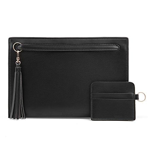 Wristlets Women Bag Envelope Holder Stylish with ECOSUSI Handbag Black Clutch Wallet Card Party q0d14wt