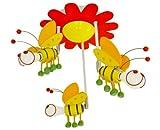 Kids 3-lights Little Bees Pendant Lamp, Multi-colored Ceiling Light