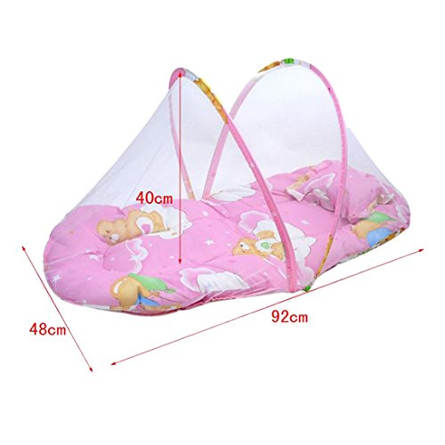 Sunward Hot! Baby Bed Mosquito Net with Cushion Portable Folding Crib Mattress (Pink) by Sunward (Image #4)