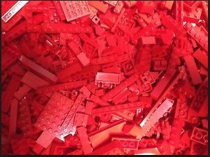 ONE POUND of RED LEGO BRICKS, BLOCKS, PLATES, PARTS~ ASSORTED SIZES (Lego Assorted Bricks)