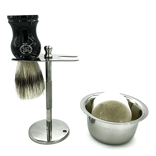 Shaving Stand for Safety Razor and Brush with Mug Cream Stainless Steel Heavy Zeva Shave Blade The Admiral Stand, Extra Wide Openings Soap for Rich Lather Nickle platted Mug Bowl Sturdy Stand