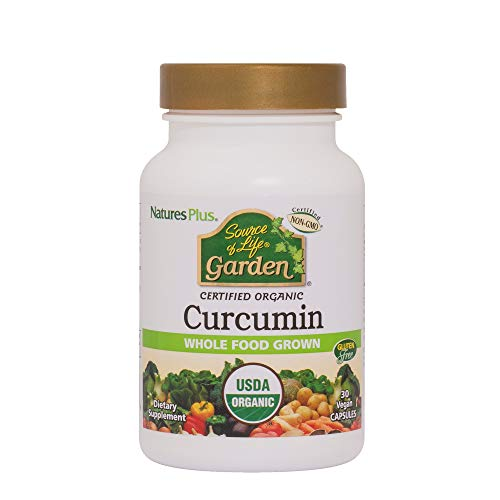 NaturesPlus Source of Life Garden Certified Organic Curcumin – 400 mg, 30 Vegan Capsules – Supports Healthy Brain Function Joints, Anti-Inflammatory – Gluten-Free – 30 Servings