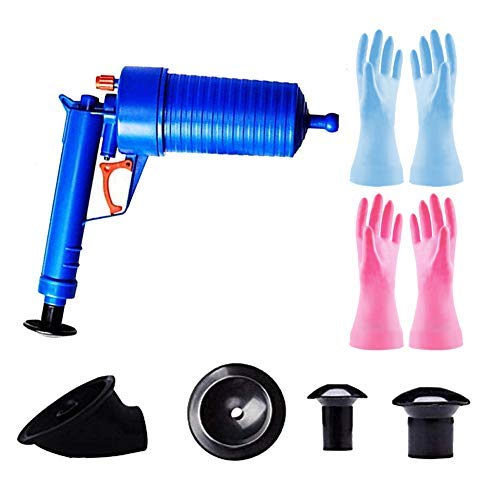 9Pcs Air Drain Blaster Toilet Plunger Set,High Pressure Drain Plunger Toilet Dredge Clog Remover with Work Gloves for Kitchen Sink Clogged Pipe Bathtub