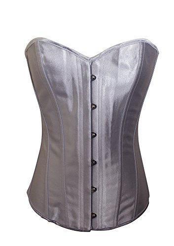 (Chicastic Silver Grey Satin Sexy Strong Boned Corset Lace Up Overbust Bustier Bodyshaper Top - 3-4)