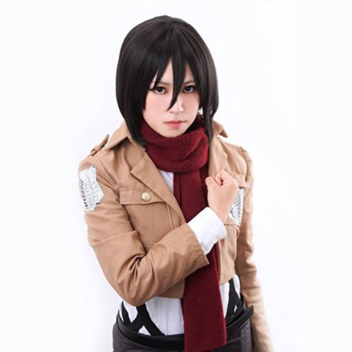 Price comparison product image Amybria 12' Short Black Straight Attack on Titan Mikasa Ackerman Cosplay Wig