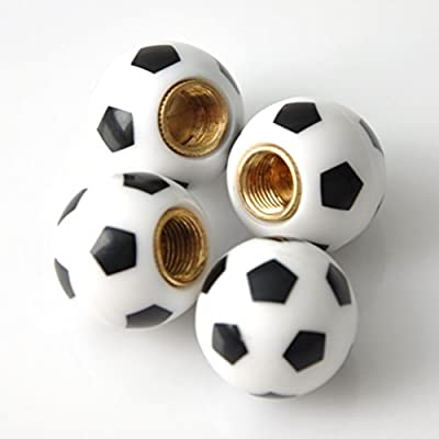 Soccer Ball - Football Shape Sport Valve Stem Caps 4Pcs: Automotive