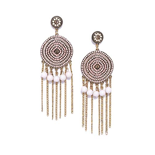 Jewels Galaxy Luxuria Copper   Crystal Gold Plated and Cubic Zirconia Drop Earrings for Women   Girls