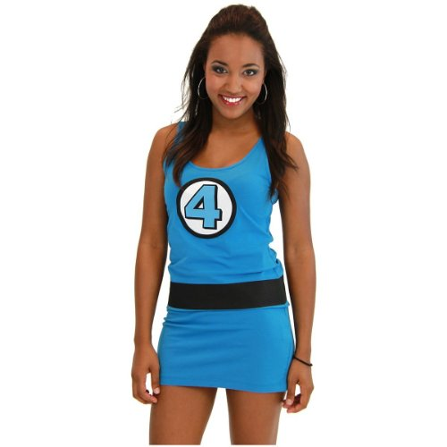 Four Invisible Woman Costume Fantastic (Marvel Comic Tank Dress Costume - Small - Dress)