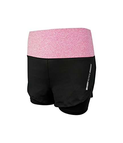 High Waist Running Shorts Double Layer Sports Shorts 2 in 1 with Liner Workout Shorts for Women US Size 2-12