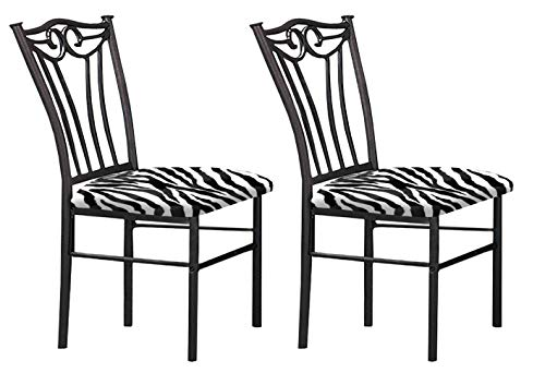 The Furniture Cove 2 Black Finish Metal Dining Chairs With A Black & White Zebra Faux Fur Padded Seat Cushion Theme! Review