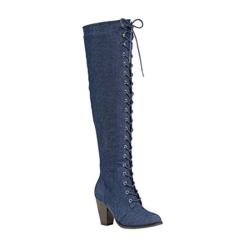 Forever Women's Chunky Heel Lace up Over-The-Knee High Riding Boots Blue Denim