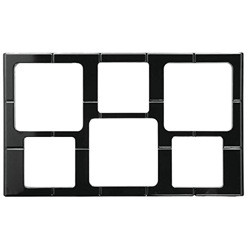 Full Size Food Bar Tile Tray For Cold Foods Black Melamine With Garnish Bowl Cut-Outs - 21'' L x 12 3/4 W by Hubert