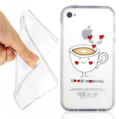 CUSTODIA COVER CASE CASEONE LOVE MORNING PER IPHONE 4 4S TRASPARENTE
