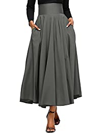 Women High Waist Casual A-Line Pleated Belted Long Maxi...
