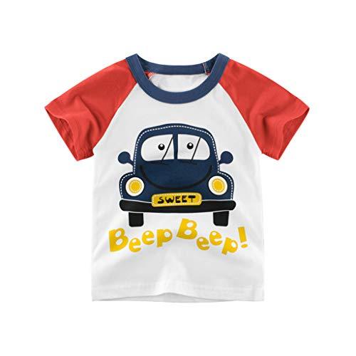 Jchen Boys Summer T-Shirt, Baby Kids Little Boys Girls Short Sleeve Cartoon Car Print Casual T-Shirt Tops Tee for 1-10 Yrs (Age:8-10 Years, Red)]()