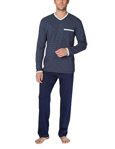 Calida Men's Anthony v Neck Cotton Knit Pajamas Set 43462 (Large, 449) (Cotton Calida Pajamas)