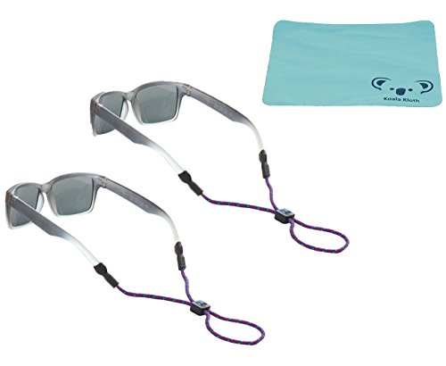 Chums Kids Rope Child Eyewear Retainer Children's Glasses Strap | Adjustable Eyeglass and Sunglass Holder for Boys and Girls | 2pk Bundle + Cloth, Purple