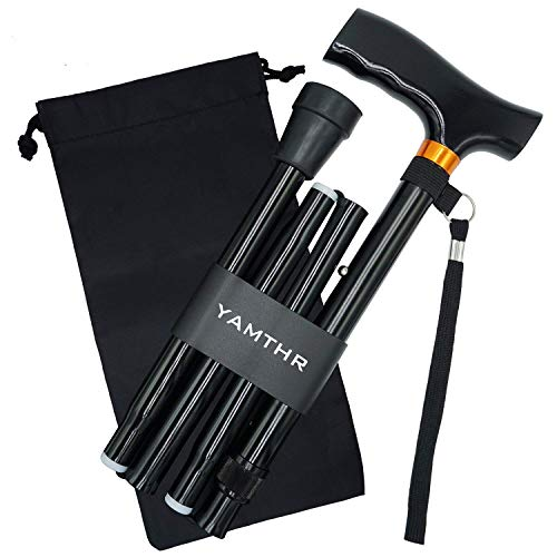 YAMTHR Folding Cane, Walking Cane for Men, Women, Portable Walking Stick Balancing Mobility Aid, Adjustable,Collapsible, Lightweight, Comfortable T Handles (Black+Wooden Handle)