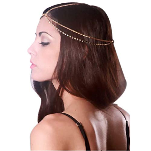 OWMEOT Clearance! Girls Head Chain Jewelry Rhinestone Headbands Crossover Headpiece Jewelry Hair Band Tassels (Gold)
