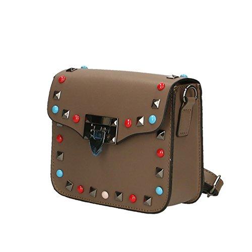 Chicca Borse Mujer de embrague bolso pequeño con la correa de hombro del cuero genuino Made in Italy - 18x15x7 Cm Barro