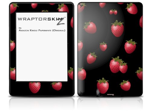 Strawberries on Black - Decal Style Skin fits Amazon Kindle Paperwhite (Original)